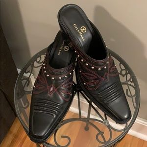Black and Red Cole Haan Cowboy Mules